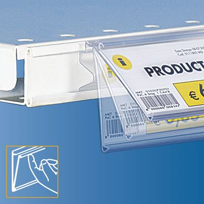 "Picture of FLIP-UP WITH ANGLE DATASTRIP FOR SHELVES WITH ""C"" RAIL 25 MM HIGH - LABEL H.MAX 40 MM"