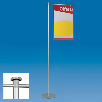 Picture of ALUMINIUM FIXED EASY STAND WITH 1 ARM AND 2 HOOKS