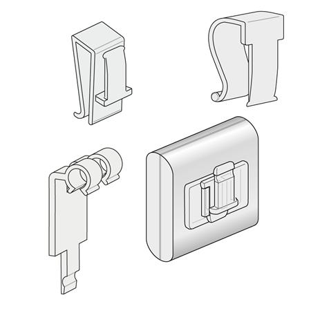 Immagine per la categoria CLIP PER TUBI, CESTI IN FILO, SPESSORI VERTICALI, PER GANCI E CON MAGNETE