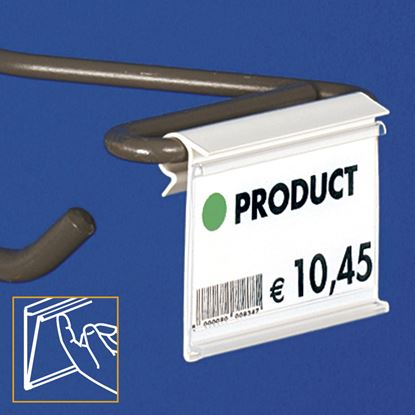 Picture of EXTRUDED LABEL HOLDER - WITHOUT CENTRAL CUT - FRONT OPENING with finger hook - Label H.MAX 9 MM