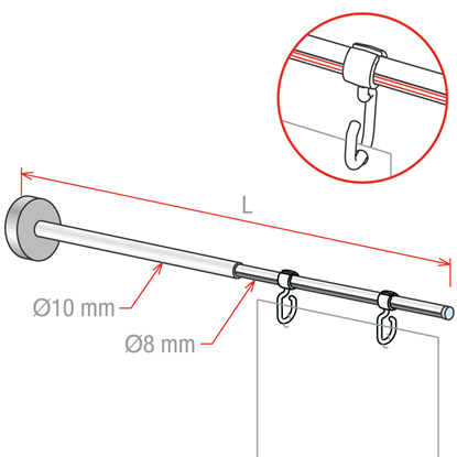 Image de TELESCOPIC MAGNETIC SLIM - FIXATION VERTICALE