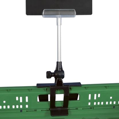 "Picture of HINGED CLAMP FOR CRATES WITH STEM AND ""ELITE"" MESSAGE HOLDER"