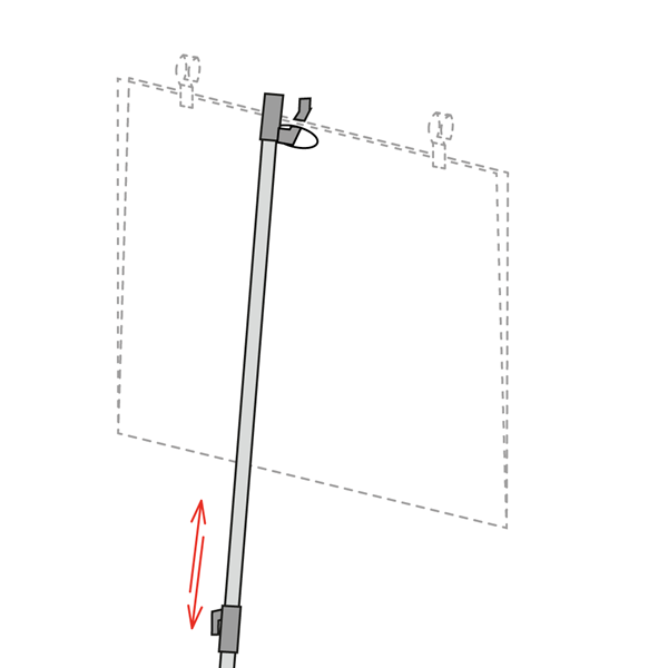 Picture of TELESCOPIC POLE FOR POCKET WITH CENTRAL HANGING HOLE AND HOOKS